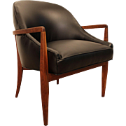 Mid-Century Danish Modern Curved-Back Walnut Leather Open Arm Lounge Chair