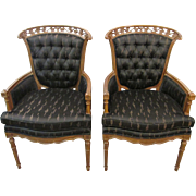 Pair of Upholstered French Regency Tufted Arm Chairs