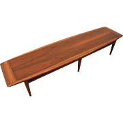 Mid-Century Danish Modern Elongated Walnut Surfboard Coffee Table by Lane