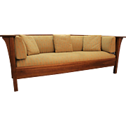 Mission Arts and Crafts Style Stickley Cherry Spindle Settle Sofa