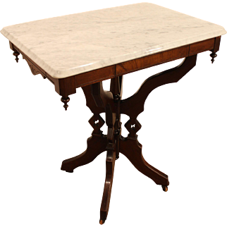 Antique Victorian Marble-Top Carved Lamp Table/Side Table
