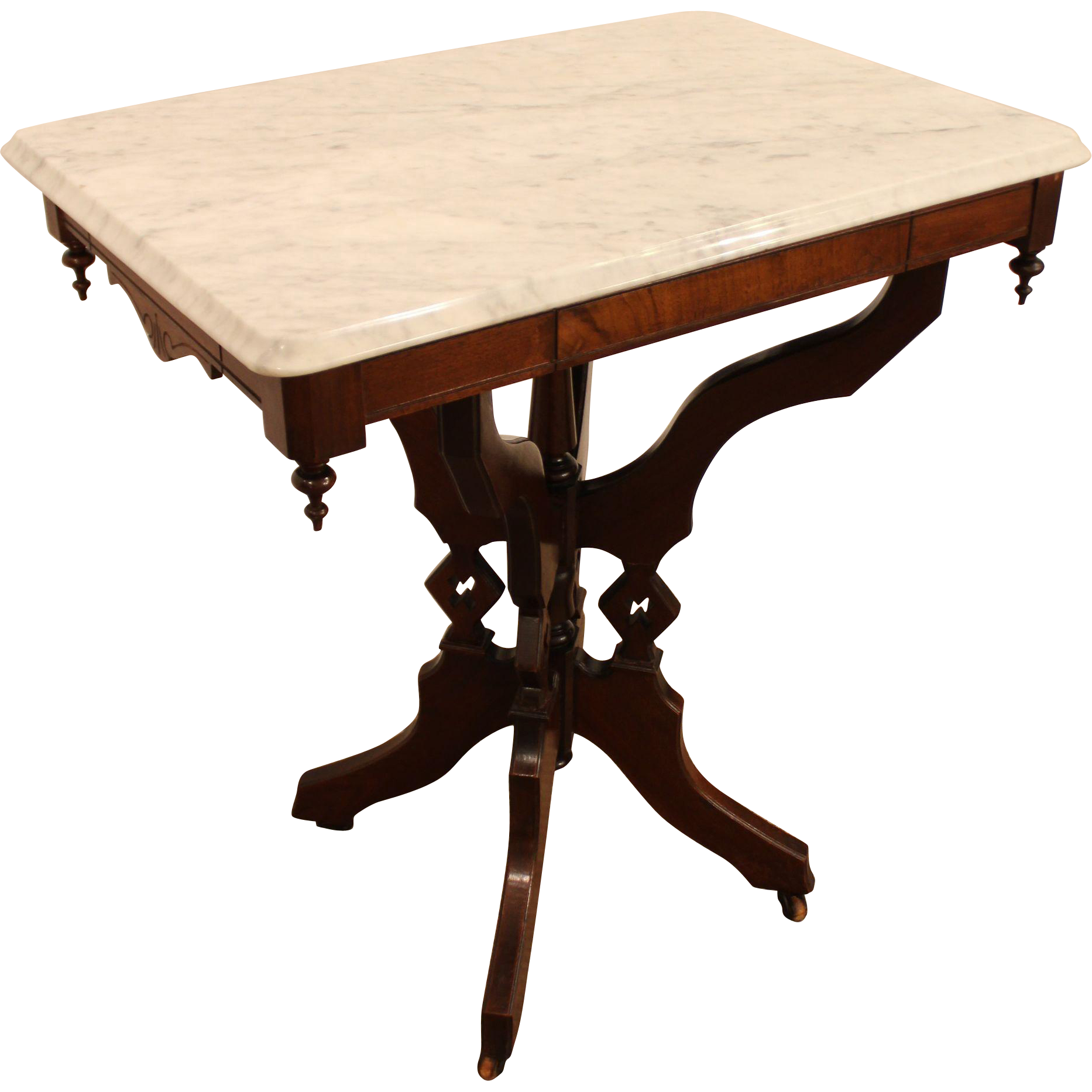 Antique Victorian Marble Top Carved Lamp Table Side Table SOLD on