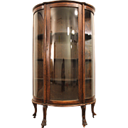 Antique Oak Ball & Claw Convex China/Display Cabinet