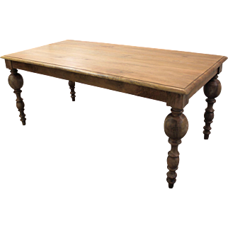 """Country French FARM Primitive Rustic Dining Table Grey 72"""" Long"""