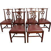 Set of 6 Chippendale Mahogany Hickory Chair Co. Dining Chairs