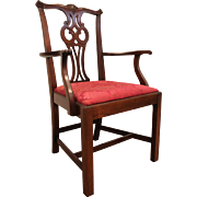 Chippendale Mahogany Hickory Chair Co. Arm Chair/Dining Chair