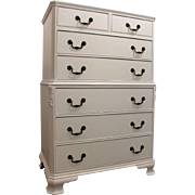 Country French White Chalk Painted Tall Chest/Dresser