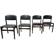 Set of 4 Mid-Century Danish Modern Walnut Volther-Style Dining Chairs