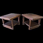 Pair of Matching Mid-Century Danish Modern Walnut Tapered Leg End Tables #6