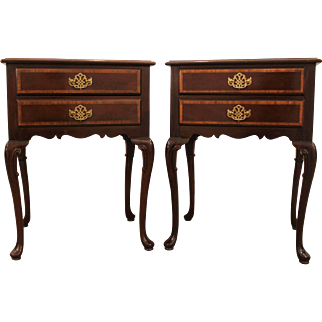 Pair-Traditional Chippendale Mahogany Queen Anne Hickory Co. End Tables