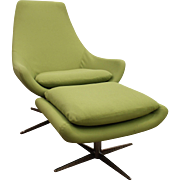Mid-Century Danish Modern Lime Green Swivel Lounge Chair/Ottoman