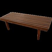 Mid-Century Danish Modern Walnut Pencil Leg Slat Bench Coffee Table #2