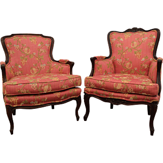 Set of 2 Carved French Ladies Arm Chairs