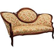 Antique Victorian Carved Settee/Loveseat/Sofa on Wheels