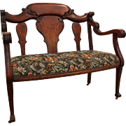 Antique Victorian Carved Walnut Settee/Bench on Wheels