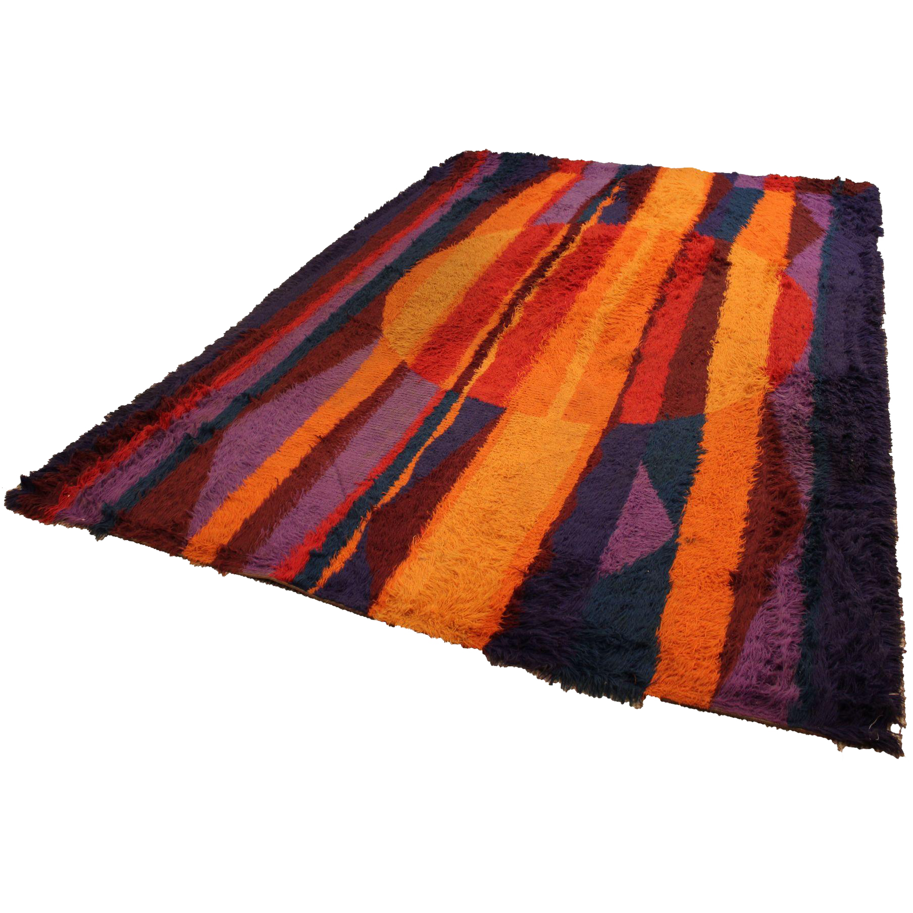 Mid Century Danish Modern Groovy Multi Colored Shag Rug