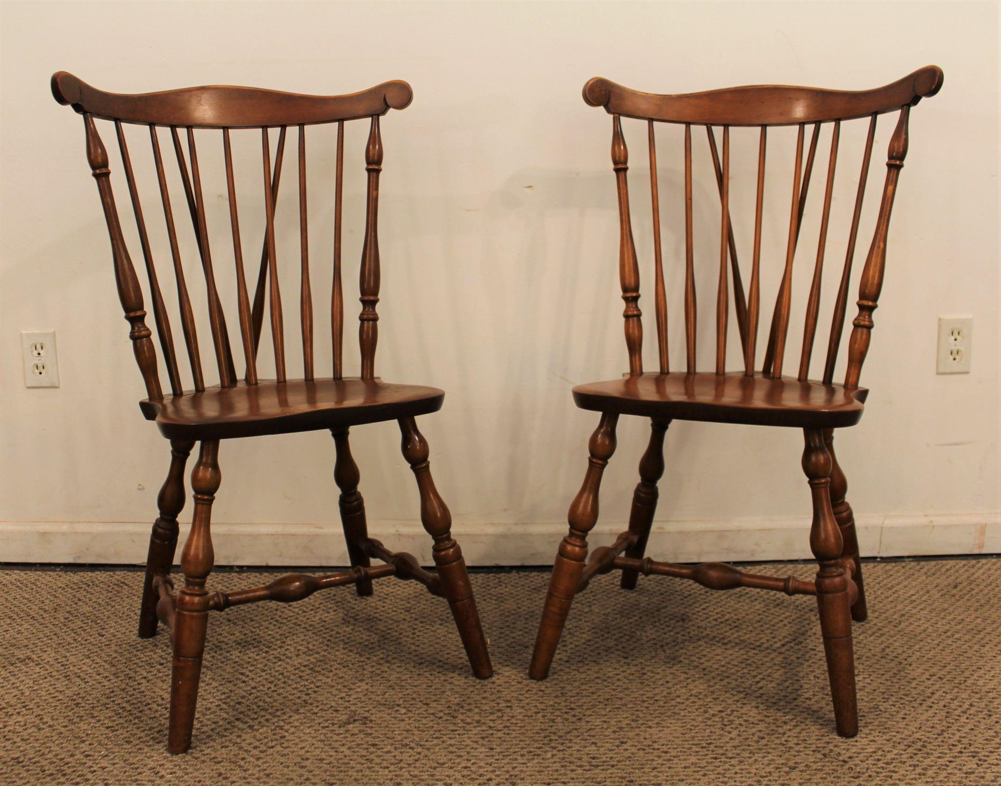 Pair of Bent Bros Maple Brace Back Windsor Side Dining Chairs