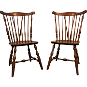 Pair of Bent Bros. Maple Brace-Back Windsor Side/Dining Chairs