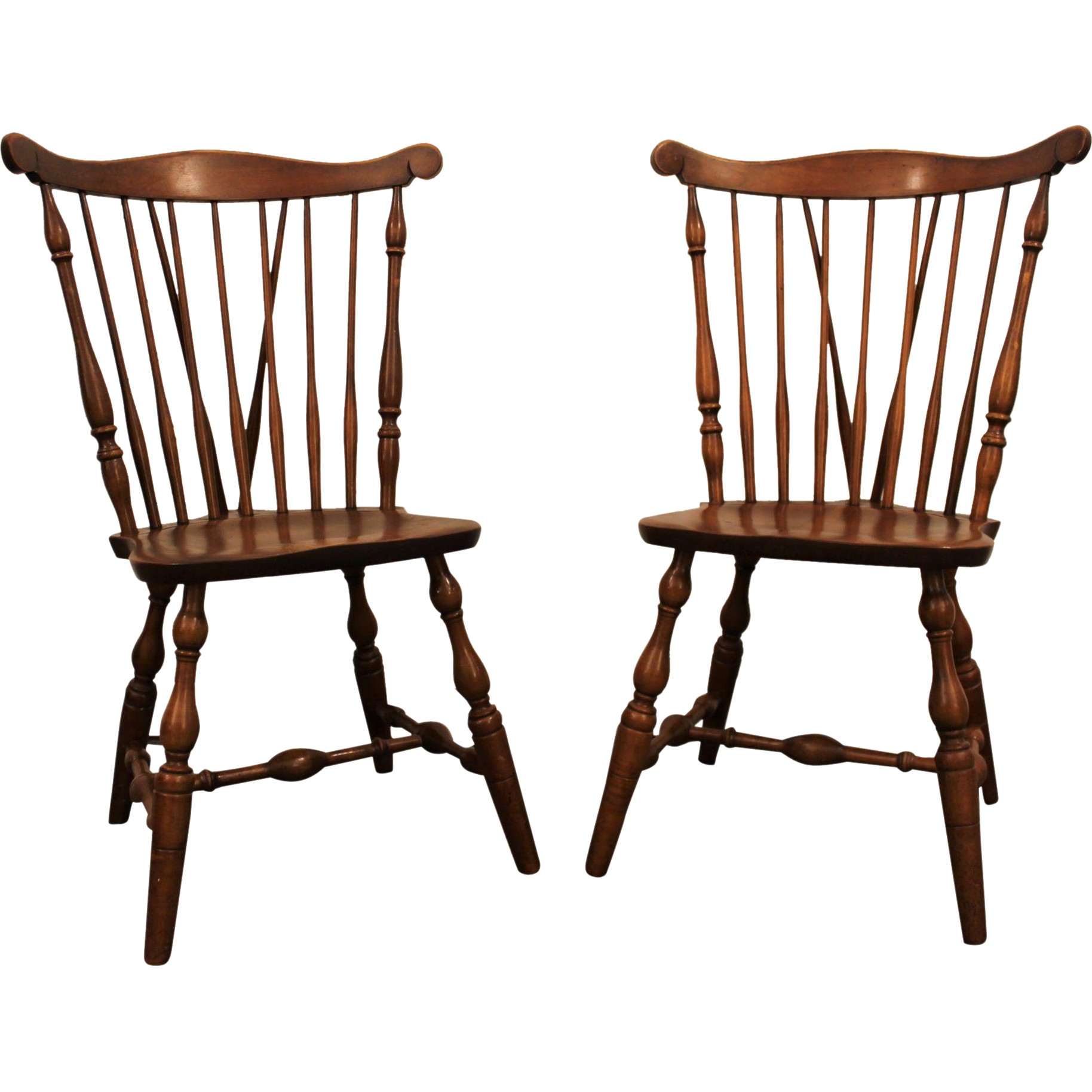 Pair Of Bent Bros. Maple Brace Back Windsor Side/Dining Chairs