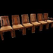 Set of 6 Mid-Century Danish Modern High-Back Walnut Dining Chairs