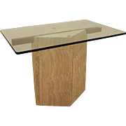 Mid Century Danish Modern Travertine Cantilever Glass Top End/Side Table