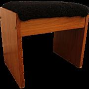 Mid-Century Danish Modern Upholstered Teak Vanity Stool/Bench