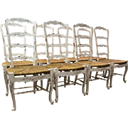 Set of 8 Country French Carved 4-Rung Rush Seat Ladderback White Dining Chairs