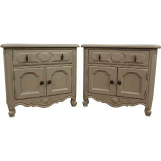 Pair of Country French Carved Gray Chalk Painted Nightstands/End Tables