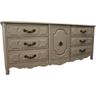 Country French Carved Gray Chalk Painted Dresser