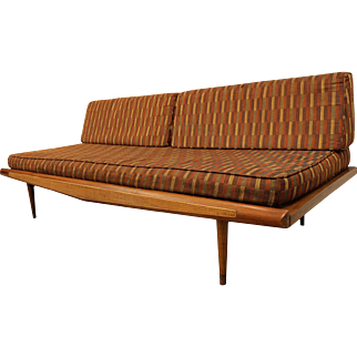 Mid-Century Danish Modern Caned Adrian Pearsall-Style Sofa