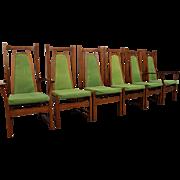 Set of 6 Mid-Century Danish Modern Walnut Lime Green High-Back Dining Chairs
