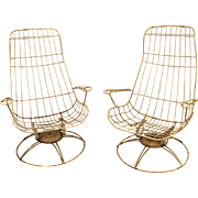 Pair of Mid Century Danish Modern Homecrest Bottemiller Swivel Rocker Lounge Chairs