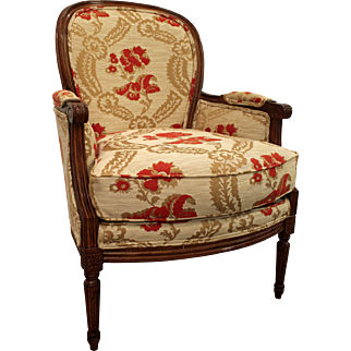 Vintage Louis XV French Carved Ladies Arm Chair