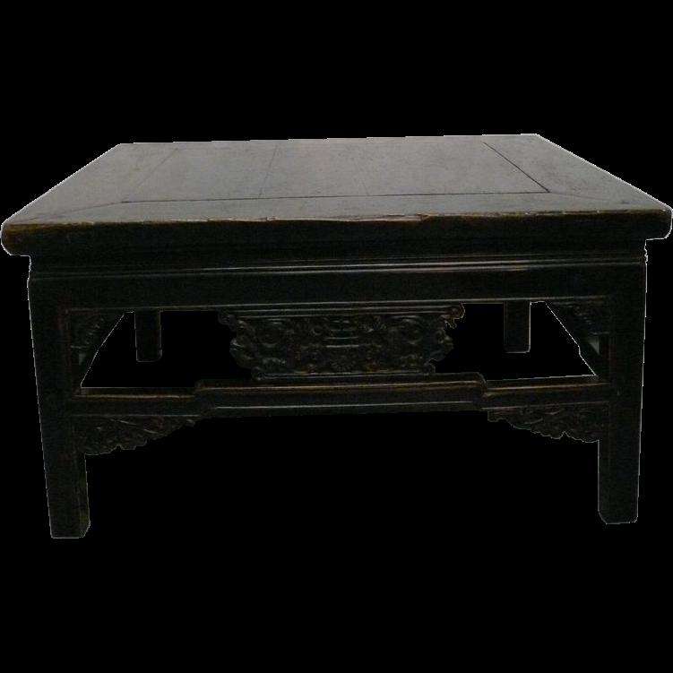 Black lacquer square coffee table from threefriendsstudio on ruby lane