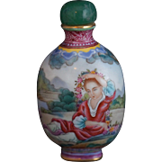 Painted Porcelain Snuff Bottle in the Style of Giuseppi Castiglione with Four Character Mark of Qianlong
