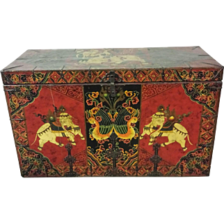 Large Colorful Painted Tibetan Trunk