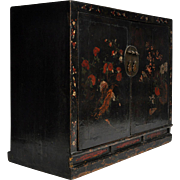 Antique Painted Black Lacquer Cabinet from Shanxi
