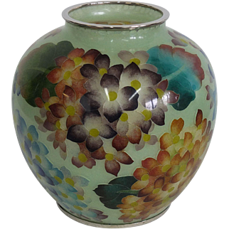 Japanese Plique a Jour Vase with Hydrangea
