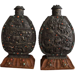 Pair of Large Metal Mongolian Style Snuff Bottles