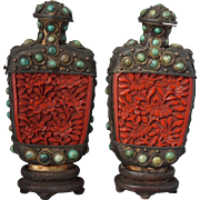 19 Century Pair of Silver Mongolian Style Snuff Bottles with Red Cinnabar Lacquer