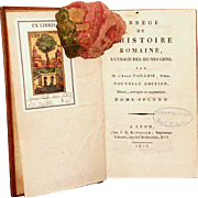 "1813 1st Edition,All Leather ""Abrege DE L'Historie Romaine"", Vol 2"