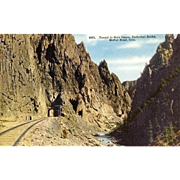 Early 1900's Post Card Railroad Tunnel in Gore Canon, Colorado,  Unused