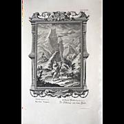 1731 Original Large Engraving Johann Scheuchzer Biblical Snake Ritual