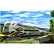 NYC New York Central RR Train Post Card from a Painting by Harold Fogg, noted artist of Railroads.  NYC's Pittsburgh & Lake Erie Newell Plant Allied Chemical. PC Dimensions 5 1/2 x 3 1/2 in. Excellent condition, stored in a plastic sleeve.
