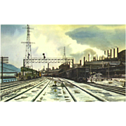NYC New York Central RR Train Post Card from a Painting by Harold Fogg, noted artist of Railroads.  NYC's Pittsburgh & Lake Erie U.S. Steel Corp, Braddock, PA. PC Dimensions 5 1/2 x 3 1/2 in. Excellent condition, stored in a plastic sleeve.