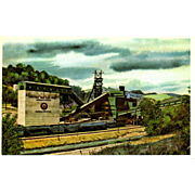 NYC New York Central RR Train Post Card from a Painting by Harold Fogg, noted artist of Railroads.  NYC's Pittsburgh & Lake Erie Eastern Gas and Fuel, Grant Town, WV. P