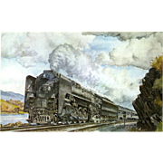 NYC New York Central RR Train Post Card from a Painting by Harold Fogg, noted artist of Railroads.  NYC's Pittsburgh & Lake Erie The Empire State Express. PC Dimensions 5 1/2 x 3 1/2 in. Excellent condition, stored in a plastic sleeve.