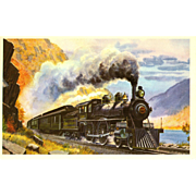 "NYC New York Central RR Train Post Card from a Painting by Harold Fogg, noted artist of Railroads.  NYC & Hudson River RR Locomotive #999. 1893  ""The Empire State Express"""