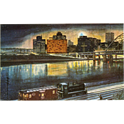 NYC New York Central RR Train Post Card from a Painting by Harold Fogg, noted artist of Railroads.  NYC's Pittsburgh & Lake Erie Pittsburgh's Golden Triangle Christmas 1960.