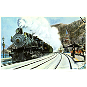 NYC New York Central RR Train Post Card from a Painting by Harold Fogg, noted artist of Railroads.  NYC's Pittsburgh & Lake Erie RR Co.  Christmas Mail 1907 Stoops Ferry, PA. PC Dimensions 5 1/2 x 3 1/2 in. Excellent condition, stored in a plastic sl